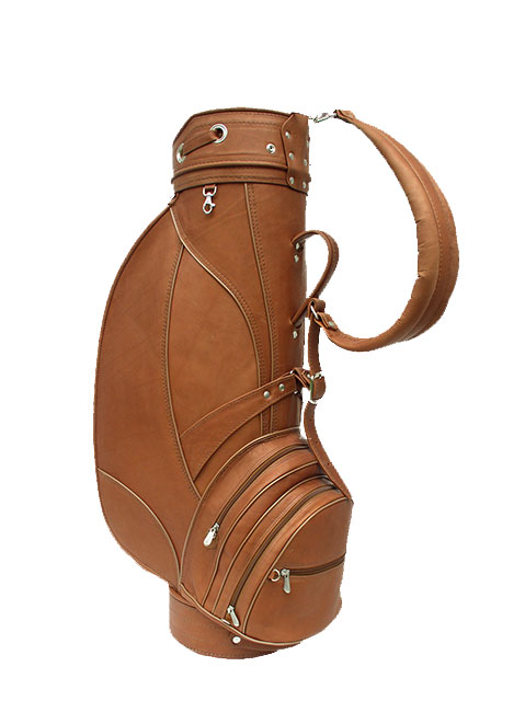 Piel Deluxe Leather Golf Bag 9 Saddle View Images