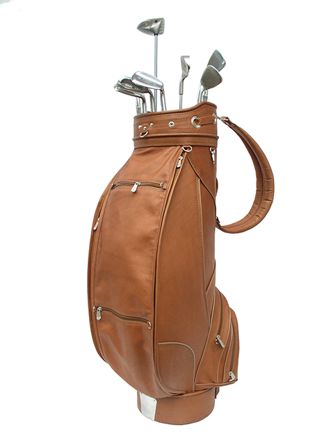 "Piel Deluxe Leather Golf Bag- 9"" Saddle"